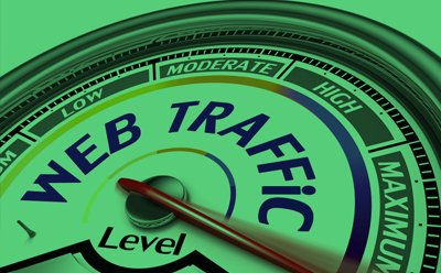A picture of a Web Traffic barometer from Low to Maximum